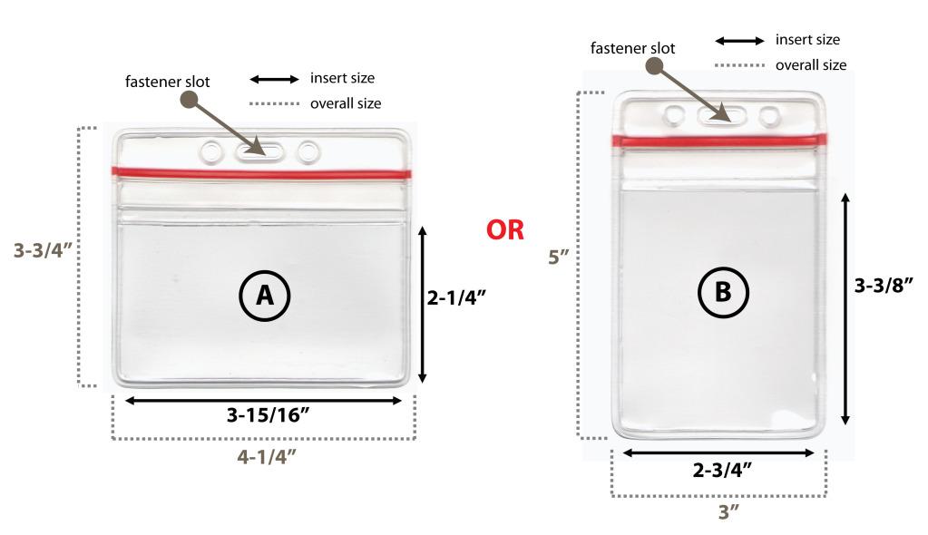 2 ZIP-LOCK ID CARD BADGE HOLDERS - VERTICAL/HORIZONTAL | eBay