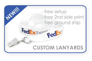 Custom Lanyards - Print your logo & name on lanyard for promotional or security use. Perfect for schools, government offices, businesses, treade shows, and special events. Screen-printed lanyards, embroidered woven lanyards, heat-transfer lanyards, and lanyard keychains