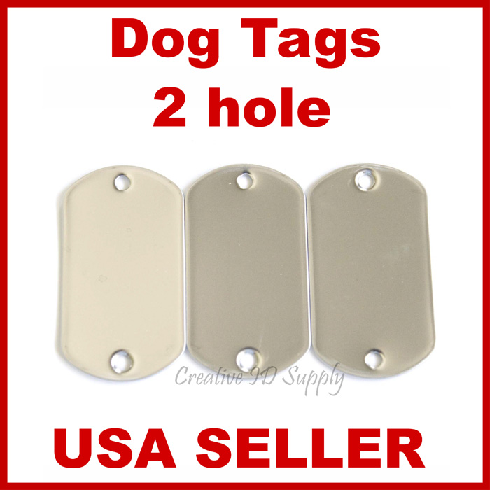 WHOLESALE 10 25 50 100 TWO HOLE BLANK DOG TAG STAINLESS ...
