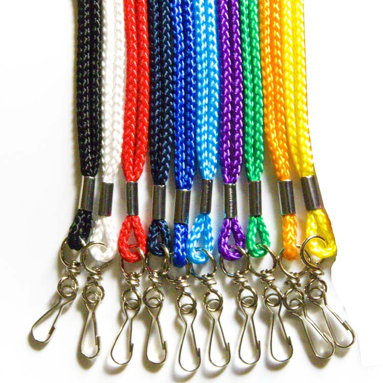 Lot 100 Round ID NECK Lanyards J Hook STRAP ID Badge Assorted 10 Bright Colors